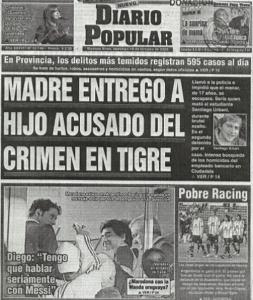 Imagen 2: Diario Popular. 18 de octubre de 2009